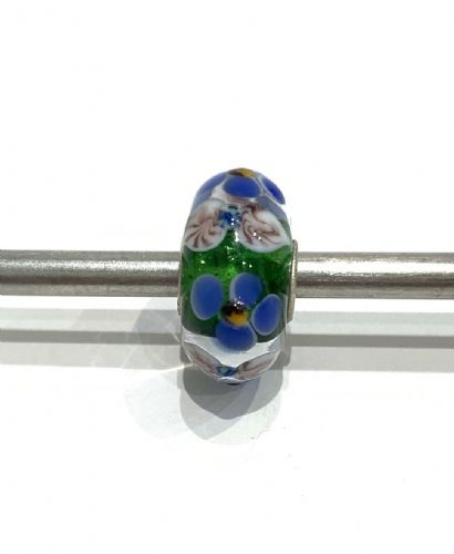 Trollbeads Unique Green, Blue And White Flowered Glass Bead U13